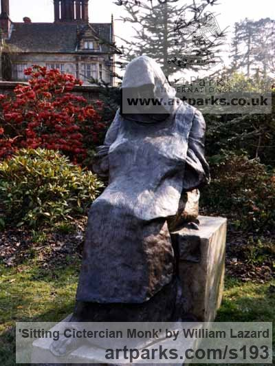 Bronze resin Garden Or Yard / Outside and Outdoor sculpture by sculptor William Lazard titled: 'Sitting Cictercian Monk (life size cold cast Bronze resin statue)' - Artwork View 2