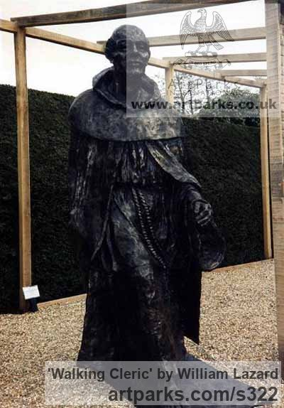 Bronze resin Garden Or Yard / Outside and Outdoor sculpture by sculptor William Lazard titled: 'Walking Cleric (Small Monk Striding sculptures)'