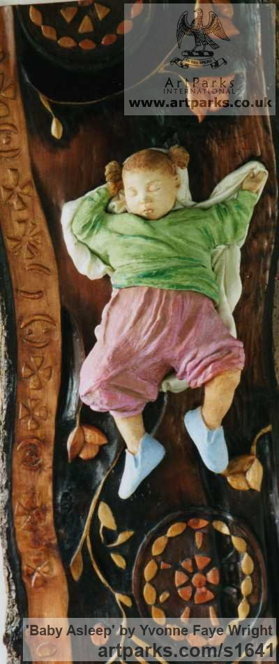 Wood, Clay ,Fabric Portrait Sculptures / Commission or Bespoke or Customised sculpture by sculptor Yvonne Faye Wright titled: 'Baby Asleep (Carved Wood and Fabric Child Infant Girl sculpture)' - Artwork View 1