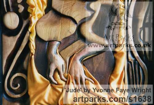 Wood, clay and fabric Females Women Girls Ladies sculpture statuettes figurines sculpture by sculptor Yvonne Faye Wright titled: 'Jude (Carved Wood Coloured abstract Stylised nude female Panel statue)' - Artwork View 2