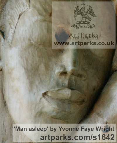 Wood Portrait Sculptures / Commission or Bespoke or Customised sculpture by sculptor Yvonne Faye Wright titled: 'Man asleep'