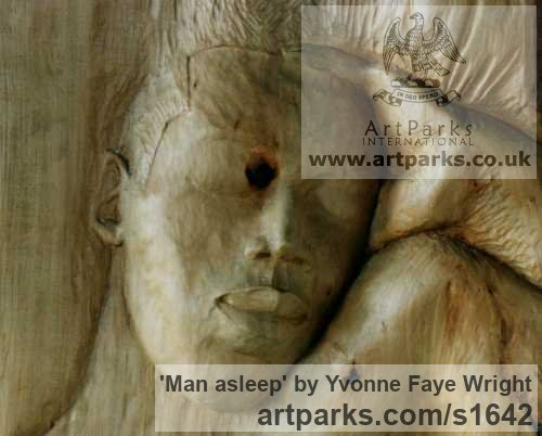 Wood Portrait Sculptures / Commission or Bespoke or Customised sculpture by sculptor Yvonne Faye Wright titled: 'Man asleep' - Artwork View 2
