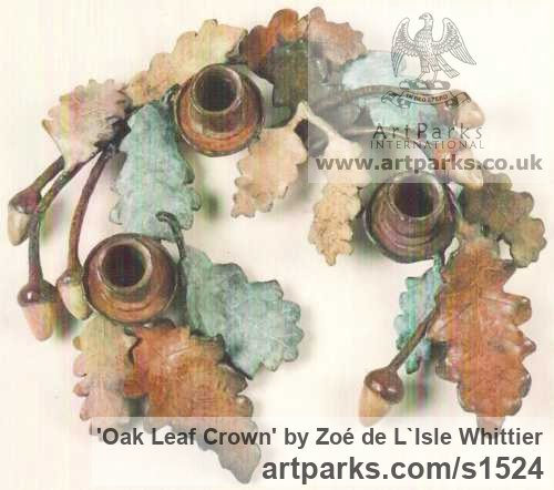 Bronze Varietal cross section of Floral, Fruit and Plantlife sculpture by sculptor Zoé de L`Isle Whittier titled: 'Oak Leaf Crown'