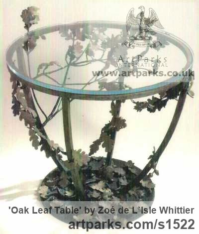 Bronze and Glass Varietal cross section of Floral, Fruit and Plantlife sculpture by sculptor Zoé de L`Isle Whittier titled: 'Oak Leaf Table'