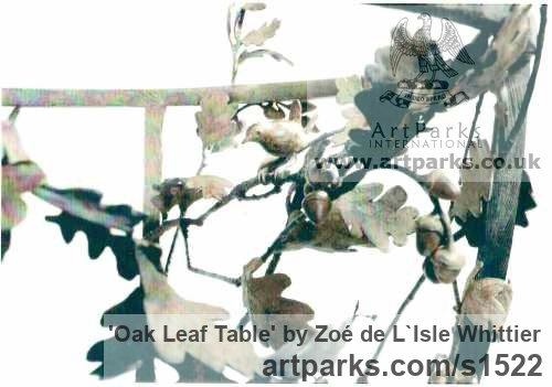Bronze and Glass Varietal cross section of Floral, Fruit and Plantlife sculpture by sculptor Zoé de L`Isle Whittier titled: 'Oak Leaf Table' - Artwork View 2