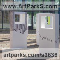 Installation Sculpture by sculptor artist Abu Jafar titled: 'Hope III (abstract White Rectangular Indoor sculptures)' in Woood