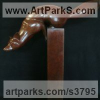 Dogs Sculpture by sculptor artist Adam Binder titled: 'Out Foxed (Ready to Pounce bronze garden Yard statues)' in Bronze