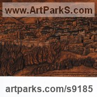 Landscape Mountains Countryside Sculpture Statues statuettes by sculptor artist Adrian Arapi titled: 'Berati Castle (Carved Wood Panel relief Wall statues)' in Carved wood