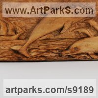 Wall Mounted or Wall Hanging sculpture by sculptor artist Adrian Arapi titled: 'Dolphins (Leaping and Sailing Ship in Maritime Panel)' in Wood