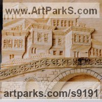 Buildings, Structures and Parts Statues or Sculpture by sculptor artist Adrian Arapi titled: 'Gorica Bridge Albania (Carved Wood Low Relief Pannel)' in Pine wood
