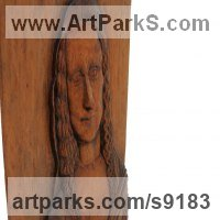 Wall Mounted or Wall Hanging sculpture by sculptor artist Adrian Arapi titled: 'Mona Lisa (High Relief Portrait Carved Wood pannel)' in Carved beechwood