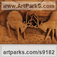 Wall Panel Carved Engraved Cast Moulded Sculpture Statue plaque by sculptor artist Adrian Arapi titled: 'Two Deers (In Rut Fighting Carved Wood Relief panels)' in Wood