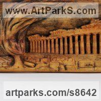Buildings, Structures and Parts Statues or Sculpture by sculptor artist Adrian Arapi titled: 'Acropolis (Low Relief AncientLand Mark Wall sculpture)' in Wood
