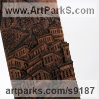 Wall Panel Carved Engraved Cast Moulded Sculpture Statue plaque by sculptor artist Adrian Arapi titled: 'View of Mangalem Berat Albania (Relief Village panel)' in Hand made chisled