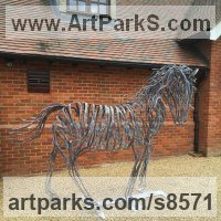 Animals and Birds at Play Sculpture Statues by sculptor artist Adrian Payne titled: 'Horse' in Metal