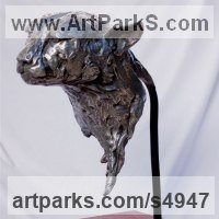 Cats Wild and Big Cats Sculpture by sculptor artist Ajay Bull titled: 'Timon (Male Cheetah Bronze Portrait Bust life size statues)' in Bronze or nickel bronze