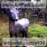 Deer Sculpture by sculptor artist Alan Biggs titled: 'Fawn (Young Deer Standing Alert Watching garden Outdoors statue)' in Resin bronze