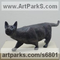 Cats Sculpture by sculptor artist Alan Dun titled: '`Eric` the Cat (Stylised Stalking Hunting Black Cat statue statuette)' in Bronze resin