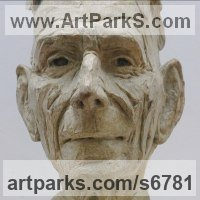 Military, Soldiers, Sailors, Marines Airmen and Military Equipment by sculptor artist Alan Dun titled: 'Harry Patch portrait (Commission bronze Bust/Head statues/sculptures)' in Bronze