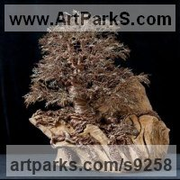 Tree Plant Shrub Bonsai sculpture statue statuette by sculptor artist Alarik Greenland titled: 'Dartington Tree (Little in Winter Art statuettes)' in 10,000 empty twig ends and wire