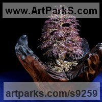 Tree Plant Shrub Bonsai sculpture statue statuette by sculptor artist Alarik Greenland titled: 'Jill`s Tree (in Autumn Leaf Little Small statuette)' in 10,000 garnet stone and wire