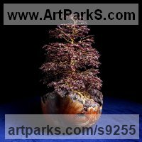 Tree Plant Shrub Bonsai sculpture statue statuette by sculptor artist Alarik Greenland titled: 'Nana (Littlle Autumn Tree on Rough Terrain statue)' in Wire and gemstones