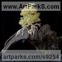 Tree Plant Shrub Bonsai sculpture statue statuette by sculptor artist Alarik Greenland titled: 'The River Dart (Miniature Bonsai tree sculptures)' in Wire and gemstones