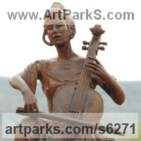 Commemoratives and Memorials Sculpture by sculptor artist Aleksandar Tosic titled: 'Violoncello (Small Carved Wooden Musician Young female sculpture statue)' in Wood