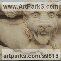 Gargoyle Carvings Sculpture Statues by sculptor artist Alex Waddell titled: 'Laughing Lion Grotesque (Little Carved Stone statues)' in Carved portland lime stone