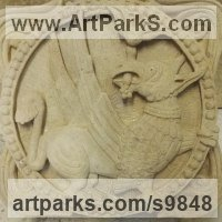 Heraldic Crests Logos Trade Marks Carvings or Castings by sculptor artist Alex Waddell titled: 'Romanesque Griffin (carved Stone High Relief statues)' in Lime stone