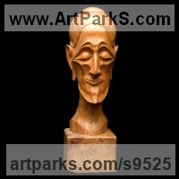 Stylised Heads / Busts Sculpture by sculptor artist Alexey Bykov titled: 'Ascetic (Carved Wood Caricature Male Bust sculptures)' in Carved wood karagach (elm tree species)