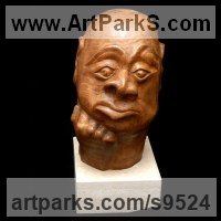 Stylised Heads / Busts Sculpture by sculptor artist Alexey Bykov titled: 'Bukka (Carved Wood Man`s Head Bust statue statuettes)' in Carved wood karagach (elm tree species)