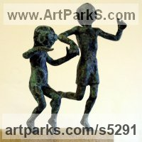 Sculpture of Children by sculptor artist Alison Bell titled: 'Splash (Little Small bronze Children Playing sculptures/Figurines statue)' in Bronze on ancaster