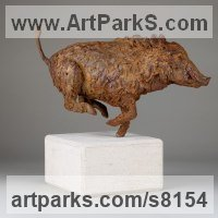 Pigs, Sows, Boars, Hogs, Piglets Sounders Sculpture or Statues by sculptor artist Alison Murray Wells titled: 'Wild Boar (Small Running bronze Fleeing statue statuette ornament)' in Cold cast iron or bronze