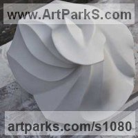 Drapery Sculpture Statue Statuettes Carvings by sculptor artist Almuth Tebbenhoff titled: 'Turning Point (Beautiful Carved marble abstract Contemporary statues)' in White carrara marble