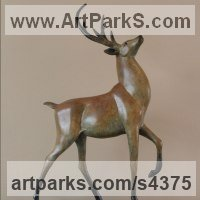 Deer Sculpture by sculptor artist Amanda Hughes-Lubeck titled: 'His Majesty (bronze Strutting Proud Displaying Stag sculptures statue)' in Bronze