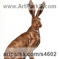 Hares and Rabbits Sculpture by sculptor artist Amy Goodman titled: 'Sitting Hare (bronze sitting Alert Listening Hare statue/statuettes)' in Bronze