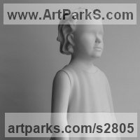 Ceramic Sculpture by sculptor artist Andrea Bucci titled: 'Sofia Walking (Little Girl Child statues sculptures in White ceramic)' in White ceramic bisque