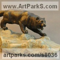 Cats Sculpture by sculptor artist Andrei Kaporin titled: 'Thirst (Prowlimg Hunting Wild Cat sculpture statue)'
