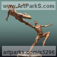 Wedding Anniversary Gift or Present Sculpture Statues statuettes by sculptor artist Andrew Benyei titled: 'Leap of Faith (Dancer nude Man and Woman sculpture statuette)' in Bronze