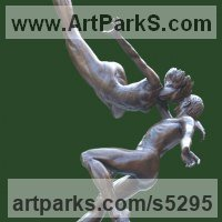 Dance Sculpture and Ballet Sculpture by sculptor artist Andrew Benyei titled: 'The Kiss (bronze Frolicking Loving Couple Dance/Dancer sculpture)' in Bronze