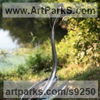 Surrealist Sculpture by sculptor artist Andy Hopper titled: 'Song to The Creator. #3 (abstract stainless steel Plant statue)' in Forged stainless steel and bronze