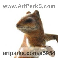 Rodents Sculpture by sculptor artist Ann Seifert titled: 'Chipmunk (bronze Inquisitive Small Animal Upright statues)' in Lost wax bronze