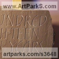 Carved and Engraved Lettering Writing Inscriptions Poems Quotations Carving Panels Sculpture by sculptor artist Anna Louise Parker titled: '215000000 Years (Carved Lettering in stone Slab Panel Block statue)' in Red sandstone