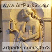 Christian Eclesiastical Sculpture, Carvings Bas Reliefs and Statues by sculptor artist Anna Louise Parker titled: 'Saint Mary Magdelene (Hand Carved Wood statues)' in Lime wood