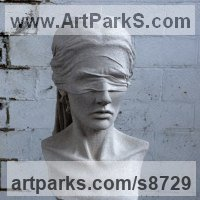 Drapery Sculpture Statue Statuettes Carvings by sculptor artist Anna Rubincam titled: 'Blindfold (female Carved stone Bust sculpture)' in Portland stone