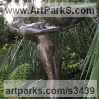 Nudes, Female Sculpture by sculptor artist Anon of the East titled: 'Water Carrier (Art Deco life size nude garden Fountain)' in Bronze