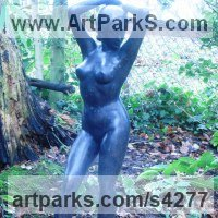 Classical Style Sculpture and Statues by sculptor artist Anon of the East titled: 'Nymph (Bronze nude Water Sprite/Girl/female/Young Woman garden)' in Bronze