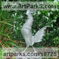 Animals and Birds at Play Sculpture Statues by sculptor artist Anon of the East titled: 'Cockerel (Large Strutting Cosk or Rooster statue)' in Bronze