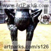 Classical Style Sculpture and Statues by sculptor artist Anon of the East titled: 'Egyptian Damsels and Urn (Bronze nude Slave Girl`s Water Carriers Gard)' in Bronze